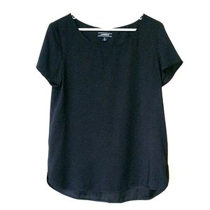 Land's End navy tunic Hi-Lo top with back p